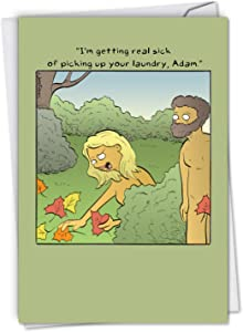Adam's Laundry - Funny Anniversary Greeting Card with Envelope (4.63 x 6.75 Inch) - Garden of Eden, Adam and Eve Marriage Anniversary Note Card for Husband, Wife - Funny Stationery C6378ANG