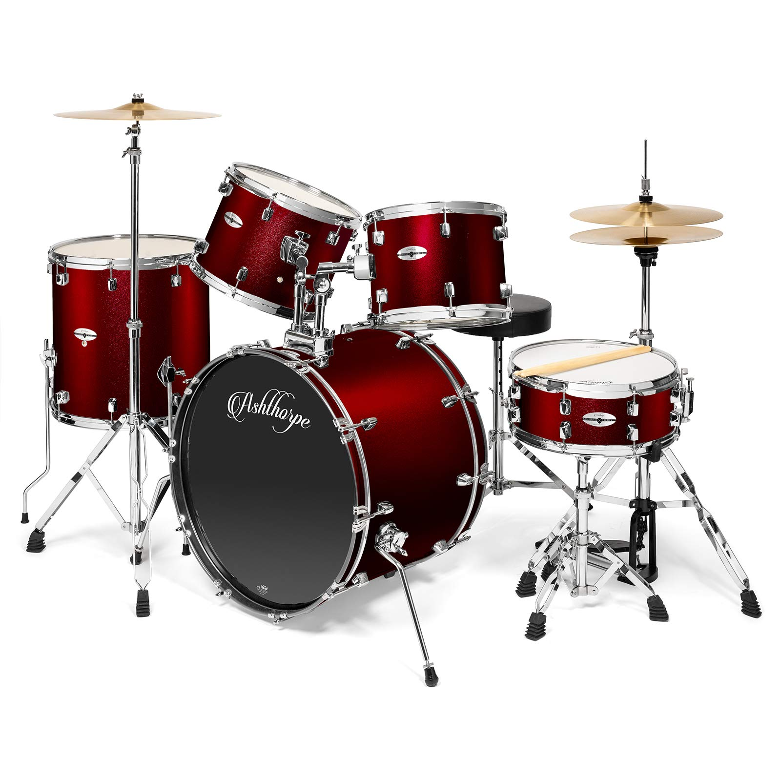 Ashthorpe 5-Piece Full Size Adult Drum Set with Remo Heads & Premium Brass Cymbals - Complete Professional Percussion Kit with Chrome Hardware - Red by Ashthorpe