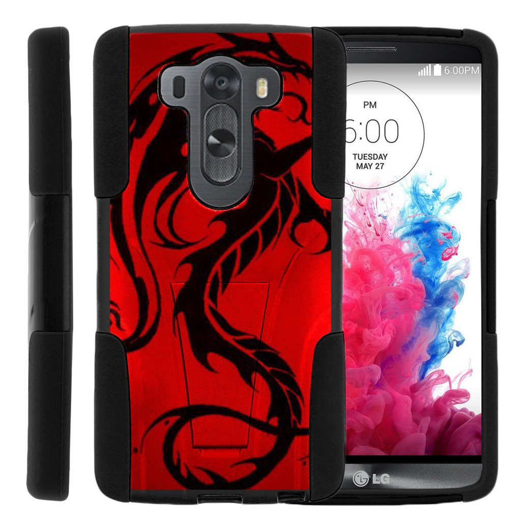 TurtleArmor | Compatible with LG V10 Case | LG G4 Pro Case [Gel Max] Hybrid Dual Layer Hard Shell Kickstand Silicone Case - Red Dragon