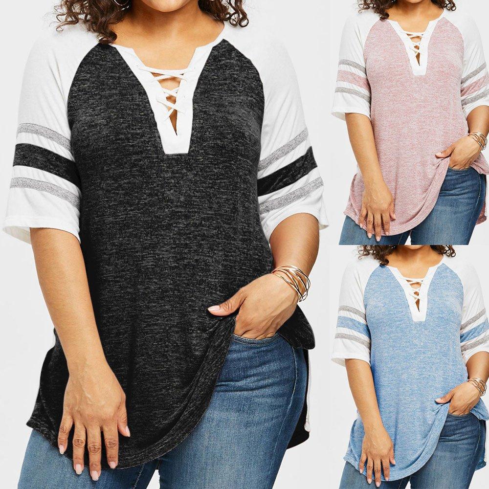 Mujer y Niña otoño fashion,Sonnena ❤ Top casual de tallas finas para mujer Patchwork T-shirt Blusa de otoño de damas: Amazon.es: Hogar