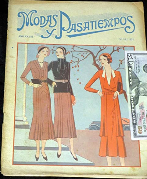 Vintage Fashion Couture Modas Pasatiempos Magazine 1931 Like Vogue has patterns