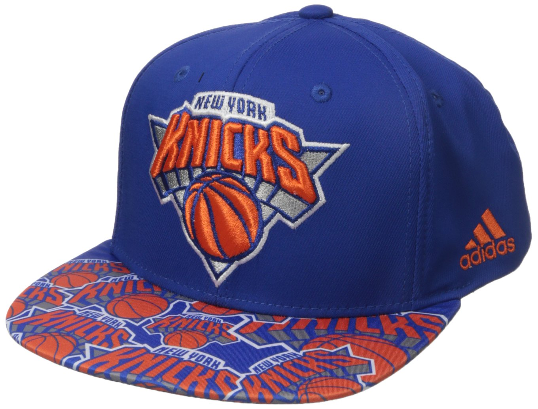 NBA New York Knicks Men's Tail Sweep Flat Brim Snapback Hat, Blue, One Size