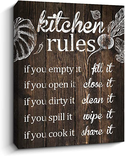 Amazon Com Pigort Funny Kitchen Rules Wall Art Sayings Canvas Prints Artwork Rustic Farmhouse Decor 12 X 15 Inch Brown Posters Prints