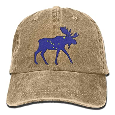 Gorra de Snapback, Sports Denim Cap Alaska Flag Moose Hombres ...