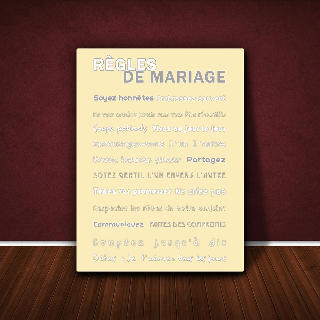 Feel Good Art R/ègles de Mariage Toile sur Cadre Vert Canard 30 X 20 cm