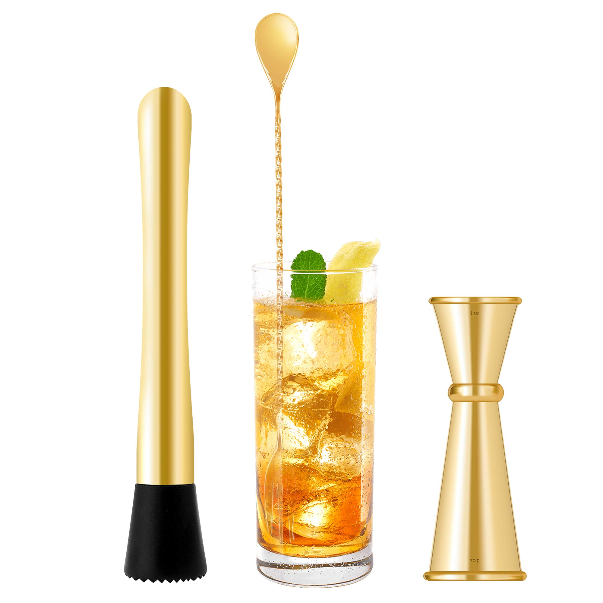 Homestia 3 PIECE Muddler Set Stainless Steel Cocktail Muddler with Double Jigger, Bar Spoon Mojito Bar Tool Gold