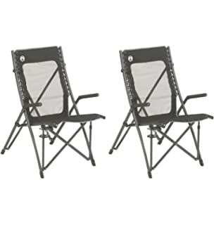 (2) COLEMAN ComfortSmart Suspension Camping Folding Chairs W/ Mesh Back U0026  Bag