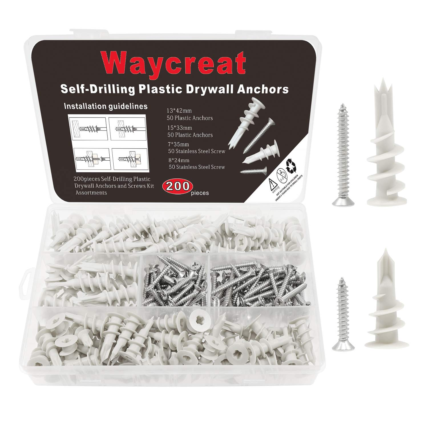 13x42mm + 15x33mm ISPINNER 140pcs Plastic Self Drilling Drywall Anchors with Screws Assortment Kit