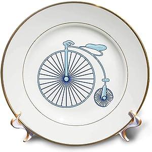 3dRose Penny Farthing Big Wheel Blue Bike Digital Art - Plates (cp_335860_1)