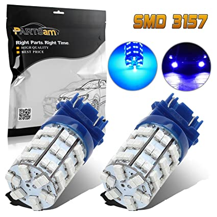 amazon com: partsam 3157 backup reverse light 3156 3357 4057 3155 3456 p27w  daytime running light ultra bright 60-3528-smd drl blue led bulbs:  automotive