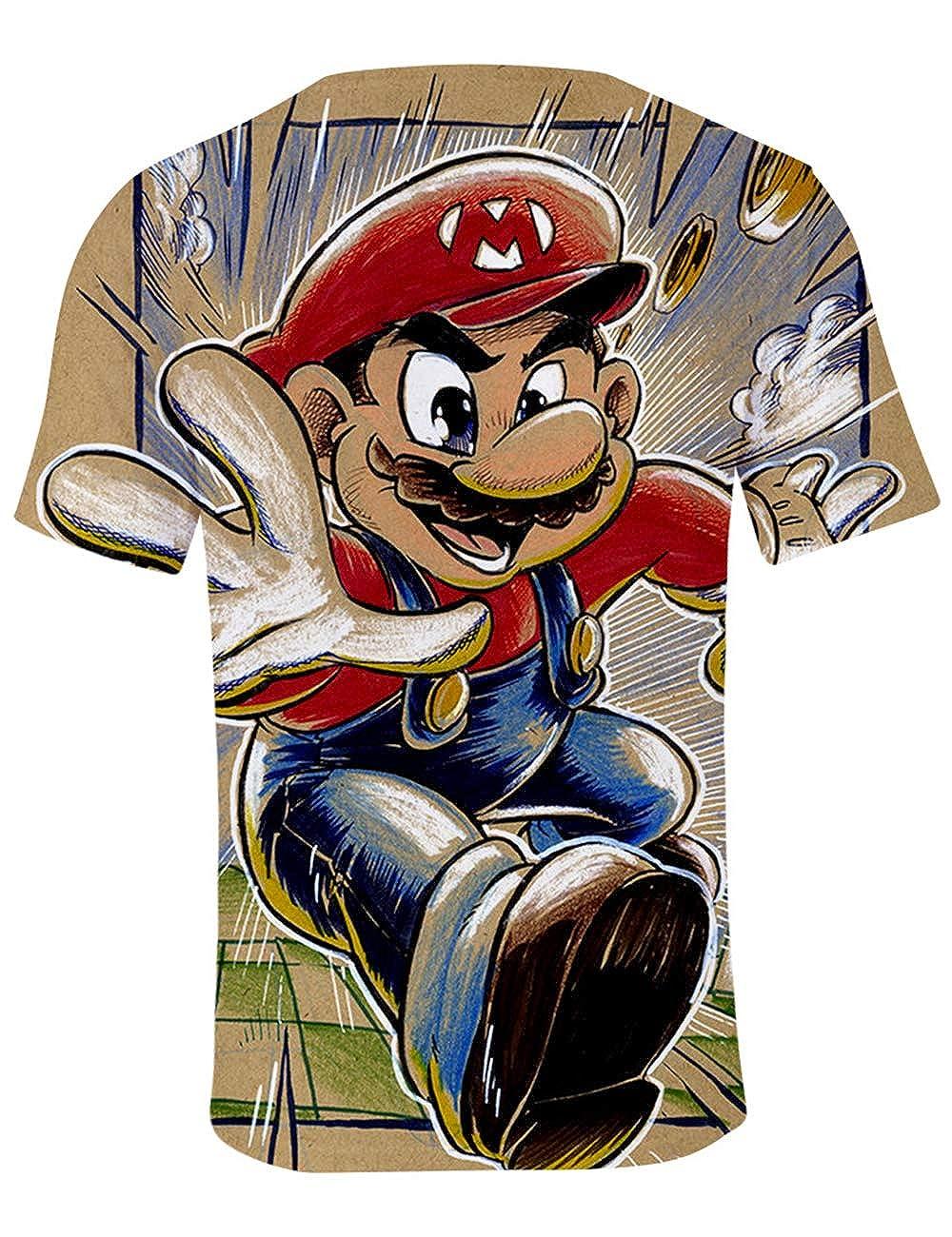 Super Mario Maglietta per Bambino Super Mario Bros Manica Corta con Stampa 3D per Ragazzo Ragazza Estate Tee T-Shirt Casuale Elegante Camicia Tops Camicetta Blusa Maglietta da Ragazzi