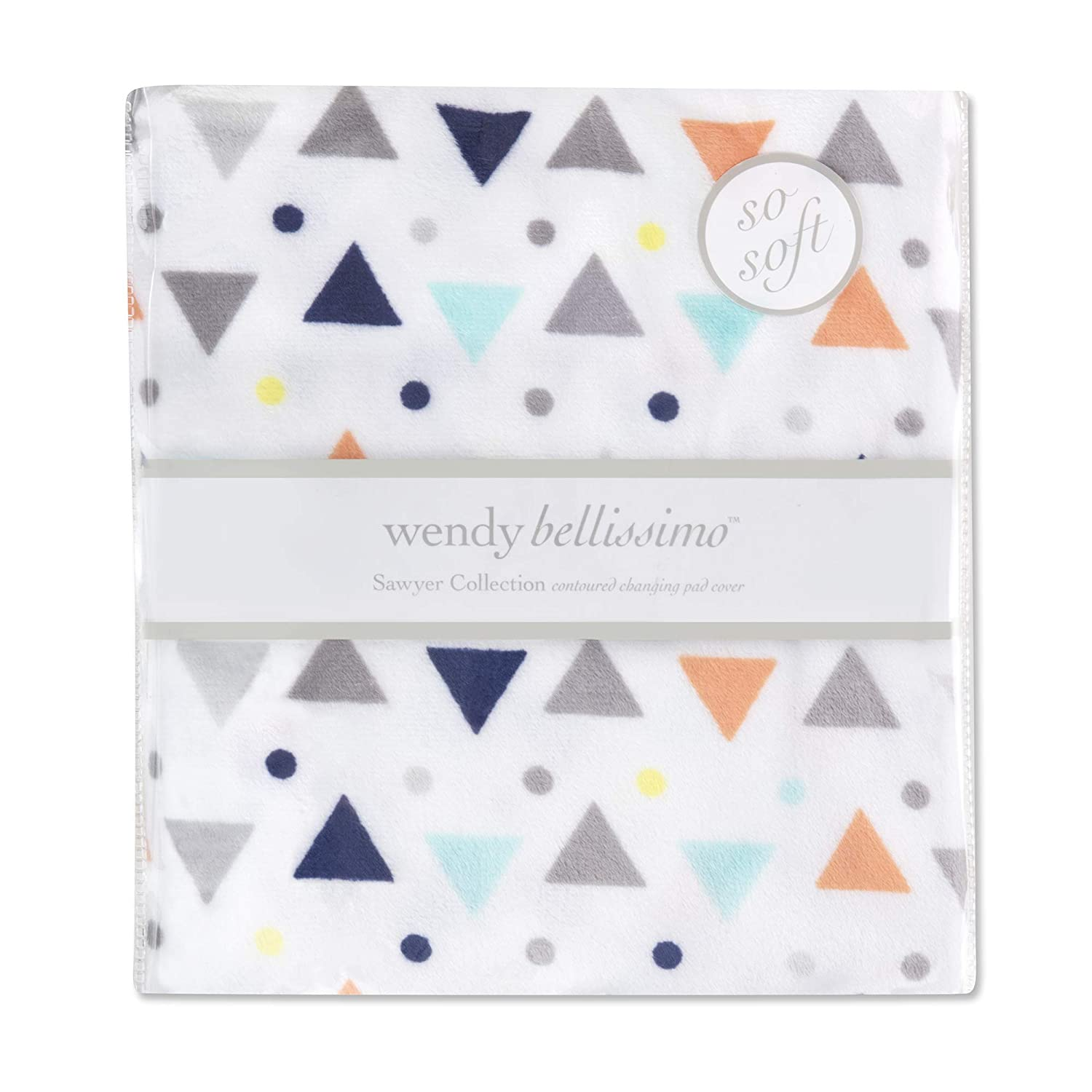 Wendy Bellissimo Velboa Contoured Diaper Pad Cover for Diaper Changer (32x16x6) from The Sawyer Collection - Triangle Print in Navy, Turquoise, Orange & Grey