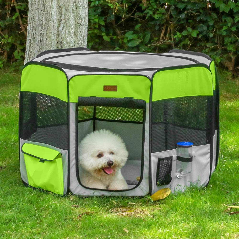 Akinerri Pet Playpen Portable Foldable Playpen for Dog Cat Puppy Exercise Kennel Dogs Cats Indoor Outdoor Removable Mesh Shade Cover