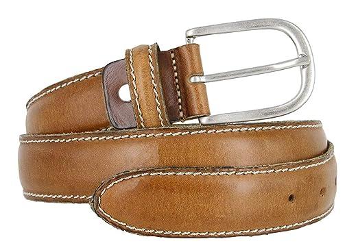 98c6f1712c72 Pele Belt Men 35 mm Wide Brown Genuine Italian Leather Stitched Silver  Buckle