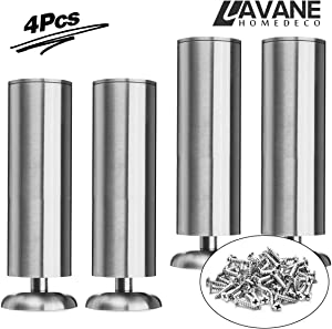 12 inch / 30cm Furniture Legs, La Vane Set of 4 Stainless Steel Cabinet Feet for Cupboard Sofa Kitchen Couch Bookcase
