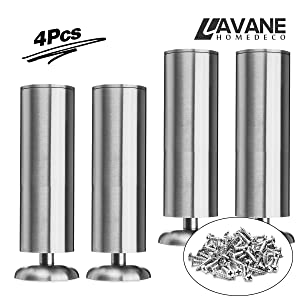 "10"" / 25cm Furniture Legs, La Vane Set of 4 Stainless Steel Cabinet Feet for Cupboard Sofa Kitchen Couch Bookcase"