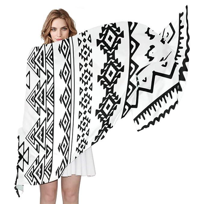 Jojogood Womens Fashion Black And White Tribal Pattern Silk Scarf