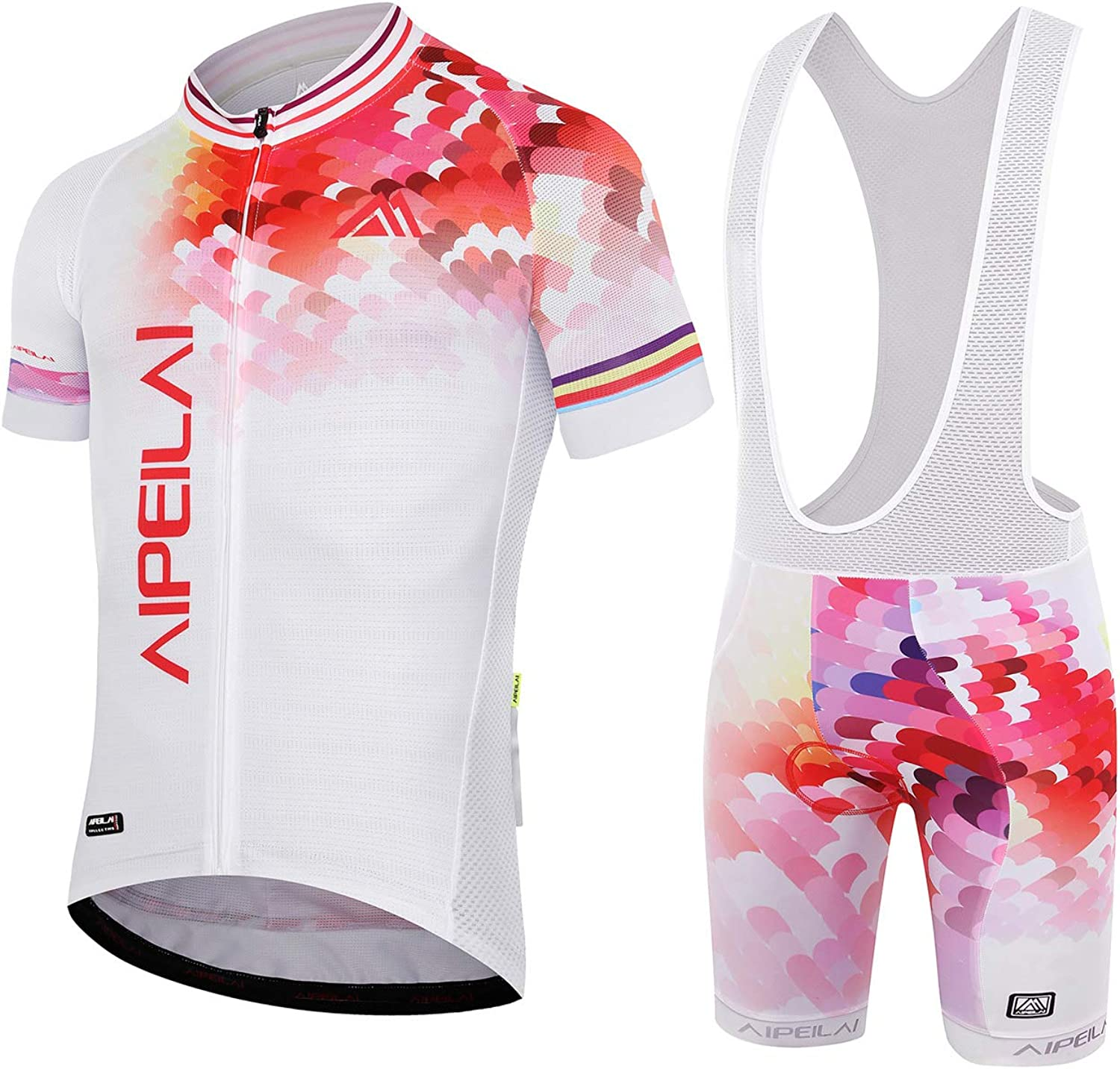 Aipeilai Mens Short Sleeve Cycling Suit Bike Bicycle Jersey and Bib Shorts Set