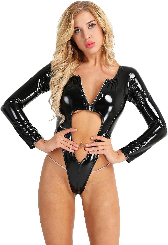 Yartina Mens Faux Leather Sheer Mesh Short Sleeves Front Zipper Leotard Bodysuit Clubwear