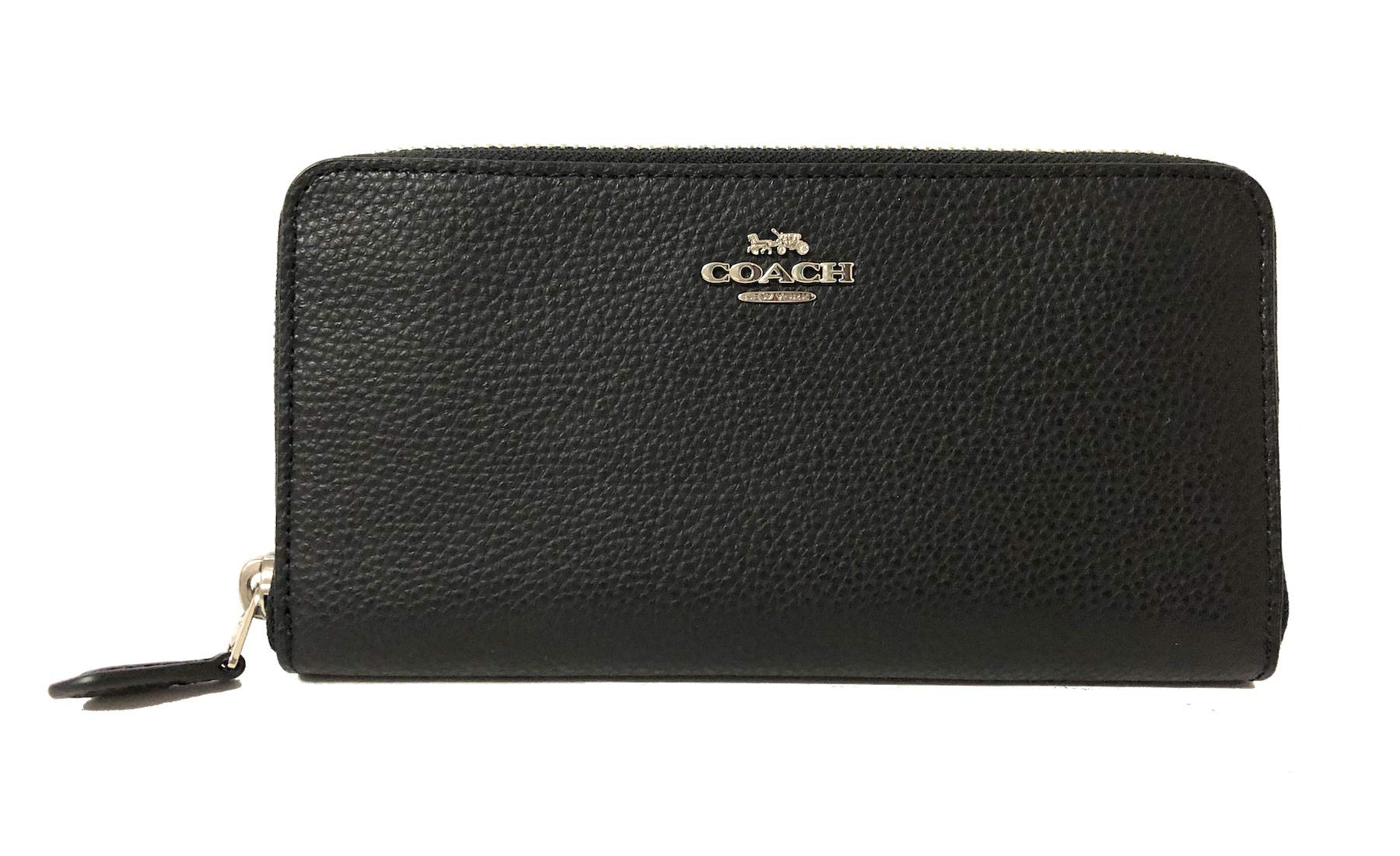 Coach Pebble Leather Accordion Zip Around Wallet (SV/Black), Large by Coach