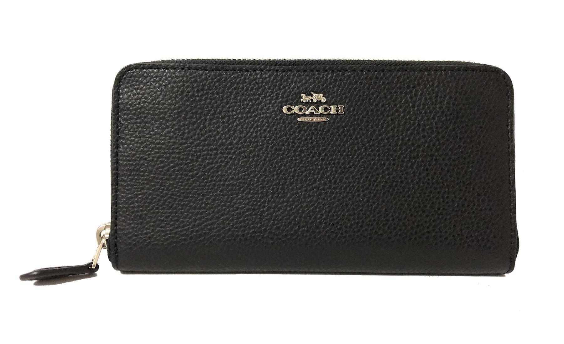 Coach Pebble Leather Accordion Zip Around Wallet (SV/Black), Large