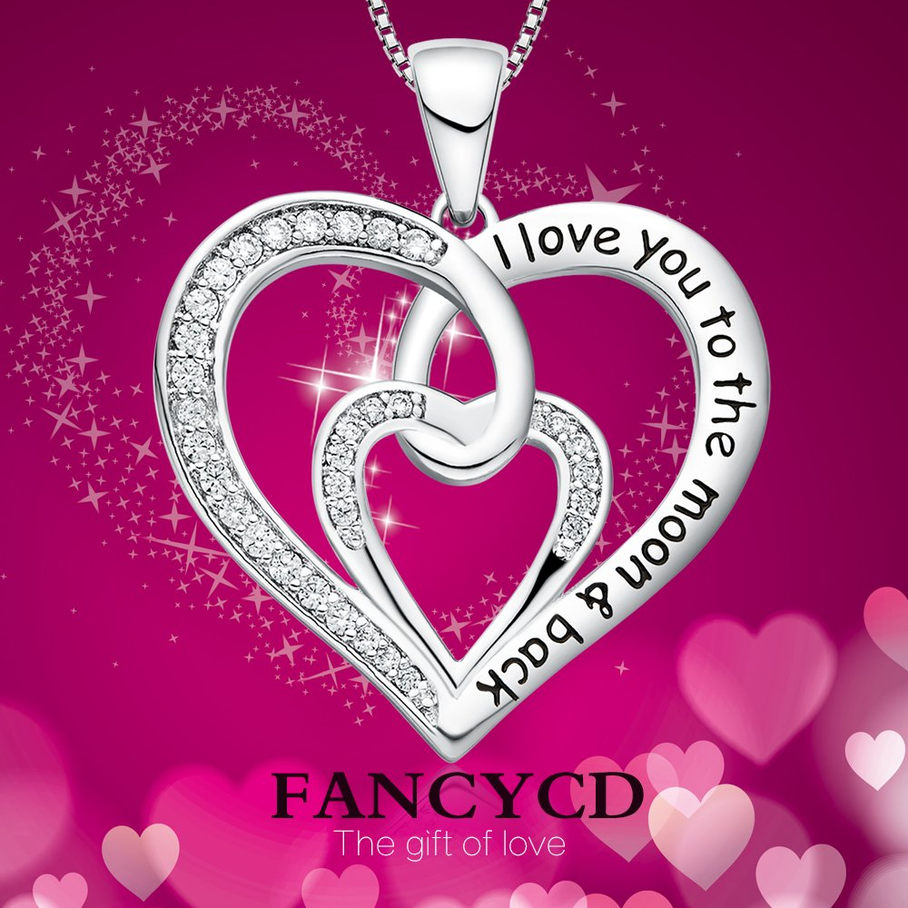 FANCYCD I Love You to the Moon and Back Love Heart Necklace, 18'', Jewelry for Women & Girls, Special Gifts for Girlfriend, Wife, Sister, Aunt, Grandma, Mom by FANCYCD (Image #2)