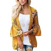 Basic Faith Women's Boho Floral Print Kimono Tops Trumpet Sleeve Cover Up Cardigans