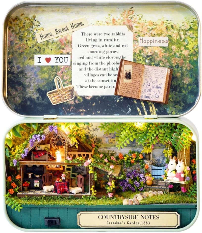 Spilay DIY Miniature Dollhouse Wooden Furniture Kit,Handmade Mini Iron Box Theater Model,1:24 Scale Creative Doll House Toys for Lovers (Countryside Notes) Q04
