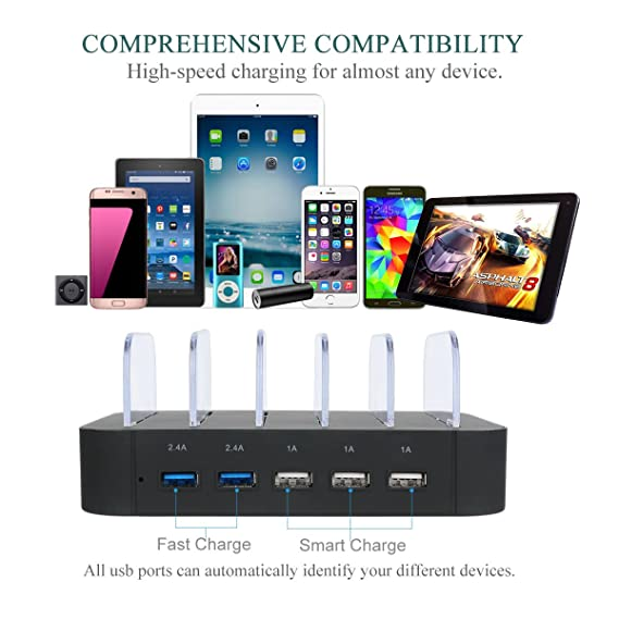 Amazon.com: Charging Station 5 Port Usb Charger Quick Charge Charging Dock,  Cell Phone Charger Multi Port Usb Desktop Charging Station for Multiple  Devices, ...