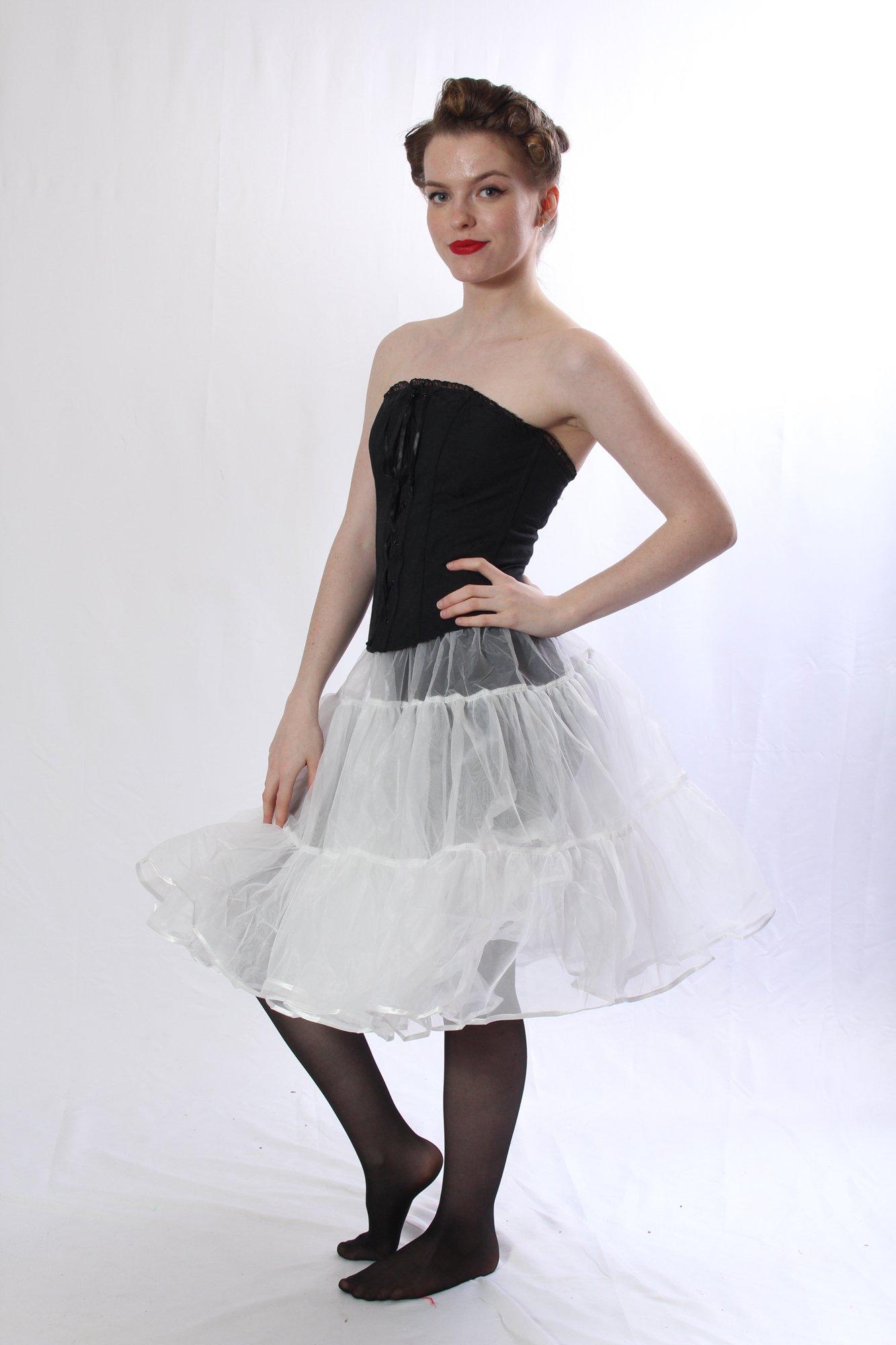 Petticoat Crinoline. Perfect Petticoat Skirt for Vintage Dresses, Petticoat Dresses, Poodle Skirts as Rockabilly Adult Tutu Skirt. Tulle Fabric; 22' Length - White Petticoat