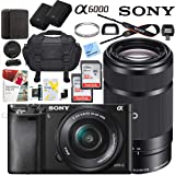 Sony Alpha a6000 Mirrorless Digital Camera with 16-50mm & 55-210mm Lens (Black) ILCE-6000L/B with Extra Battery Case Memory Deluxe Pro Bundle