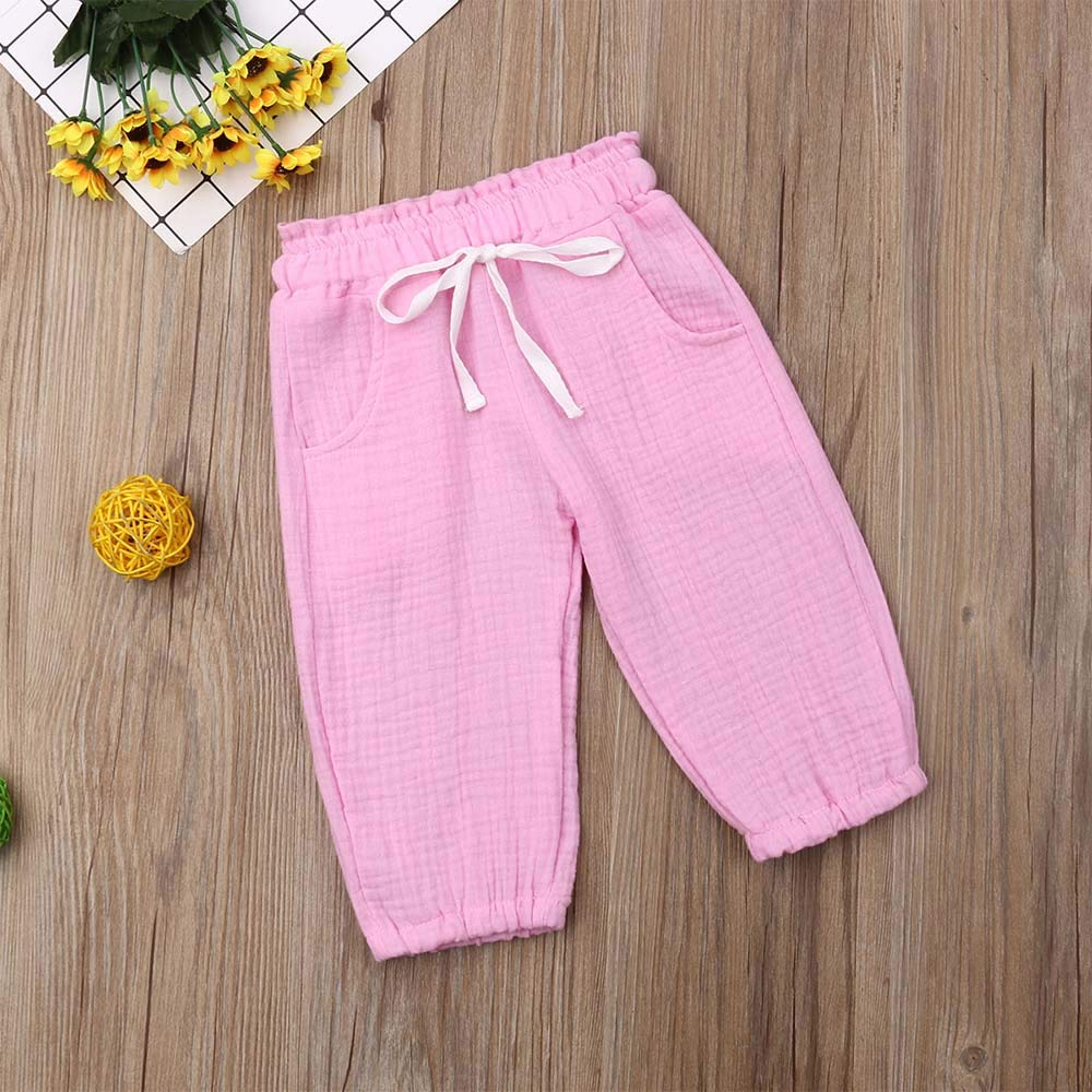 MISSugar Toddler Infant Baby Kids Outfits Solid Color Summer Cute Casual Drawstring Harem Pants Trousers