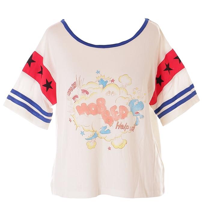 Kawaii-Story - Camiseta - Redondo - para Mujer Blanco Blanco Talla única