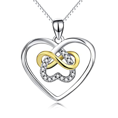 Amazon yfn celtic knot cross jewelry sterling silver platinum yfn celtic knot cross jewelry sterling silver platinum polished infinity heart pendant necklace 18quot aloadofball