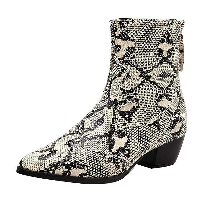Ancho Zapatos Tacon Botines Cuñas Serpiente Estampado De Botas Cremallera  Ankle Black Boots Chelsea Mymyguoe Otoñoinvierno Friday Con Mujer 08zwqq1S 68d1a88910b
