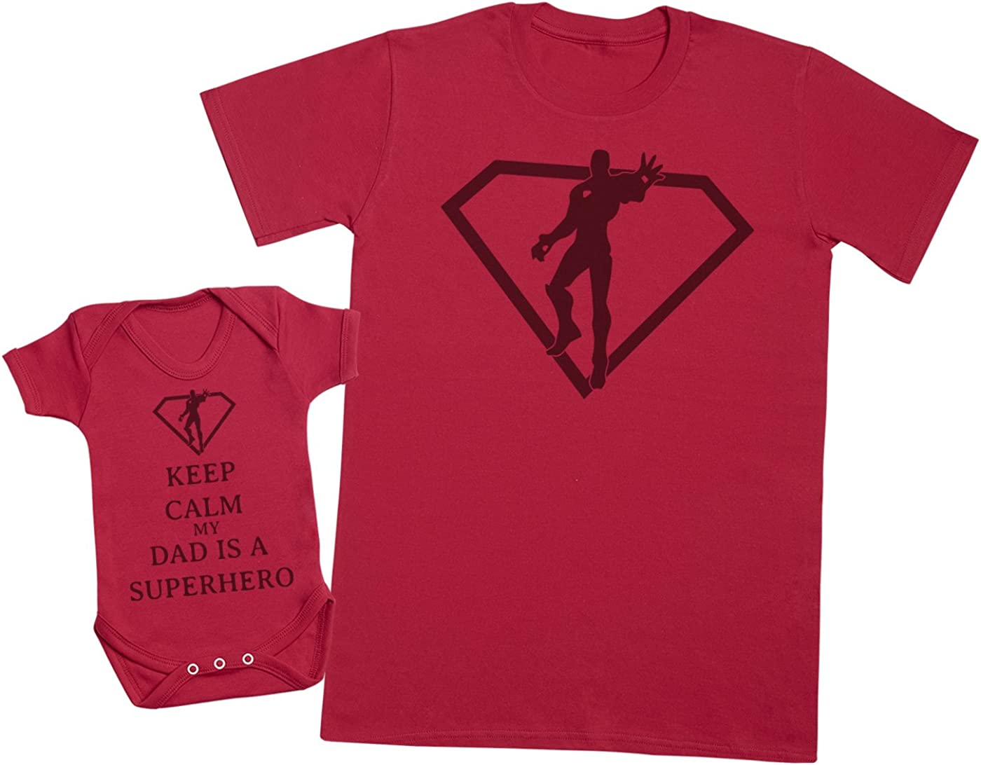 Keep Calm Dad is A Super Hero Mens T Shirt /& Baby Bodysuit Matching Father Baby Gift Set