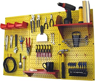 product image for Pegboard Organizer Wall Control 4 ft. Metal Pegboard Standard Tool Storage Kit with Yellow Toolboard and Red Accessories
