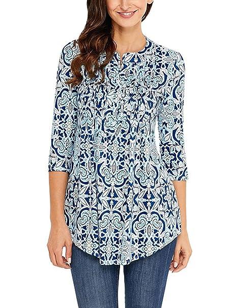 Minetom Damen Langarmshirt Herbst Frühling Mode Blumen Bluse Sweatshirt 3/4-Arm  T-Shirt Hemd Tops Slim Fit Pullover Oberteil Tunika: Amazon.de: Bekleidung