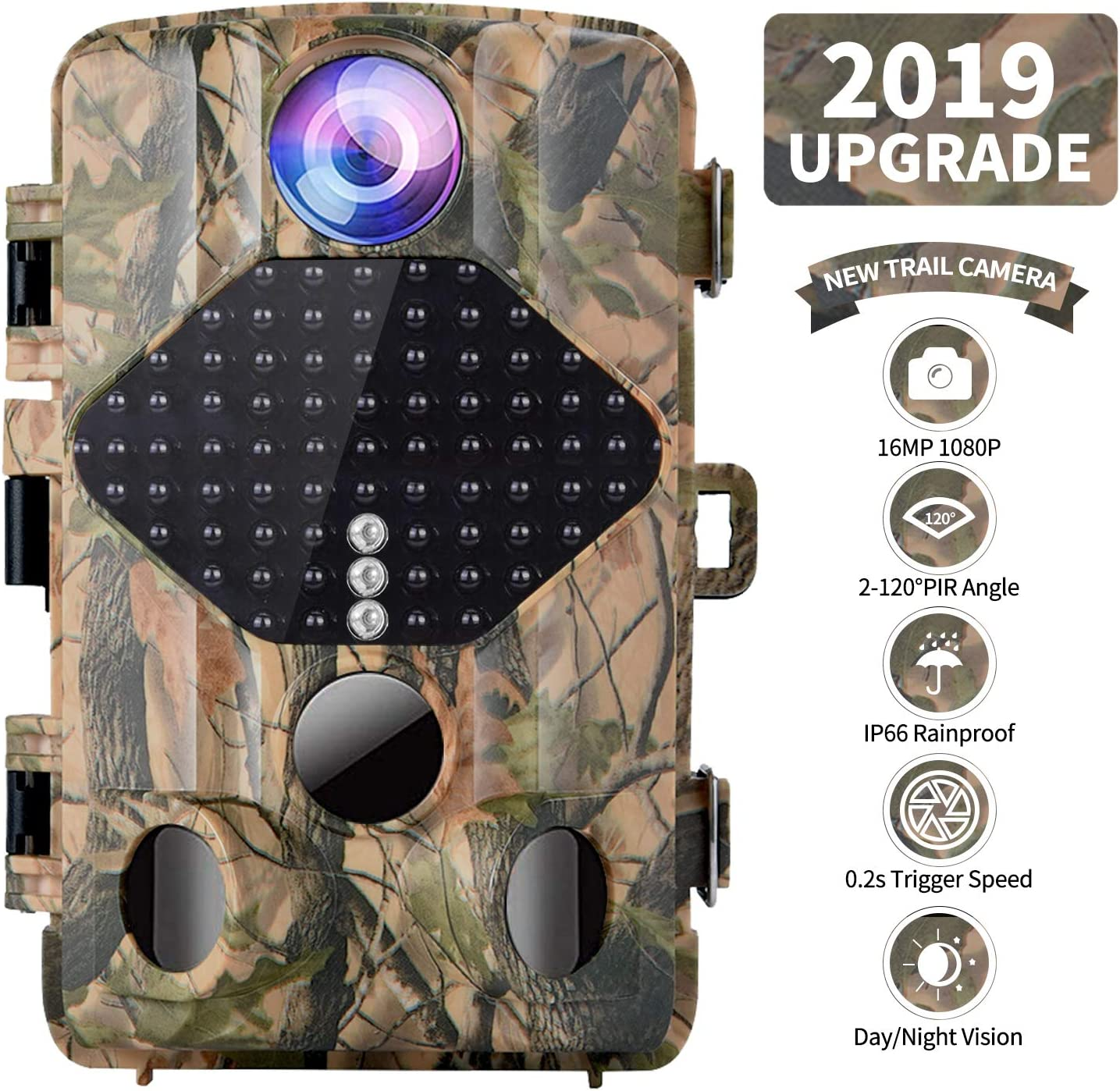 FUNSHION Trail Camera 16MP 1080P Wildlife Hunting Camera with 49 Infrared LEDs Night Vision up to 65ft,120 Wide Angle Lens,IP56 Waterproof and Faster 0.2s-0.6s Triggering Time 1