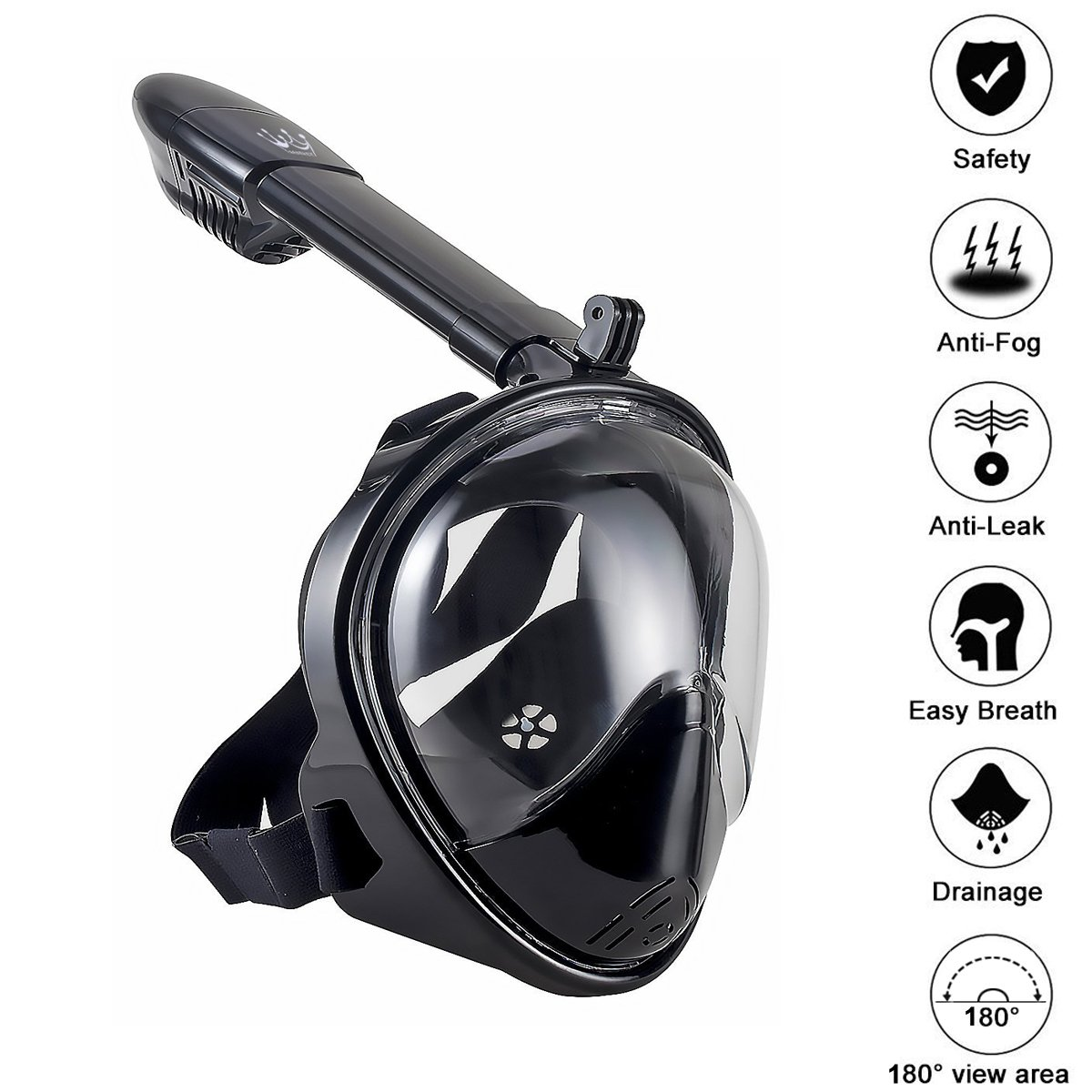 Bestrey Full Face Diving Mask Swimming Mask 180° Panoramic View Anti-Fog Anti-Leak Snorkel Mask Snorkeling Mask with Adjustable Head Straps for Adult Kids Kit Equipment (L/XL) by Bestrey