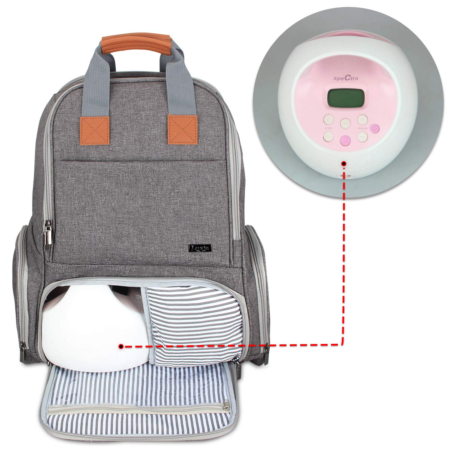 Luxja Breast Pump Backpack - Fits Most Major Brands, Gray