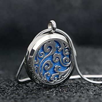 Amazon ttstar essential oil diffuser necklace aromatherapy ttstar essential oil diffuser necklace aromatherapy jewelry wave stainless steel locket pendant with 24 inches adjustable aloadofball Image collections