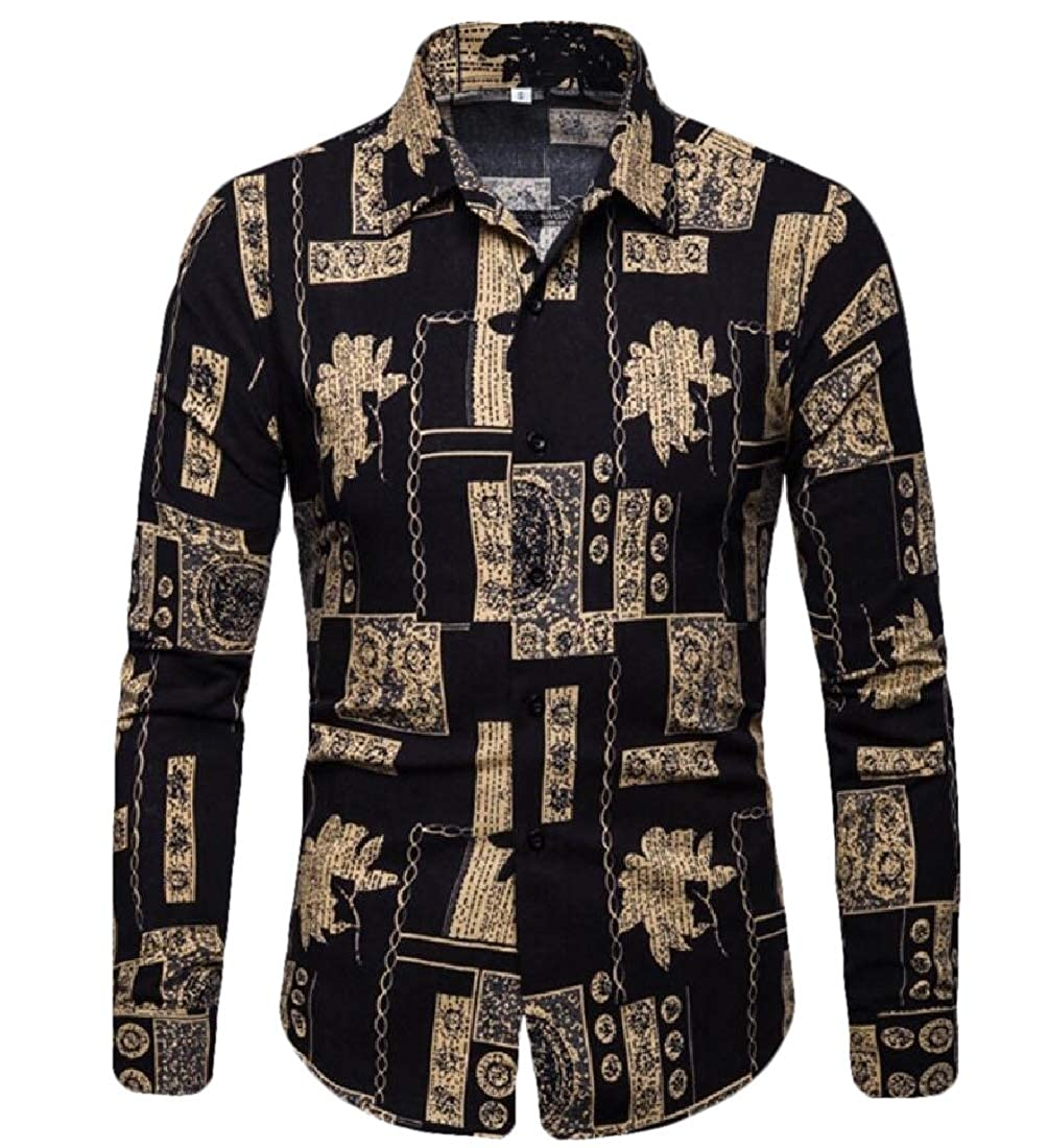 omniscient Mens Slim Fit Long Sleeve Ethnic Printed Party Button Down Dress Shirt Tops