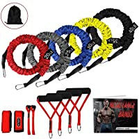 SUPALAK Resistance Bands, 15 Pieces Exercise Elastic Bands Set, 20lbs to 40lbs Resistance Tubes with Heavy Duty Protective Nylon Sleeves Anti-Snap for Fitness