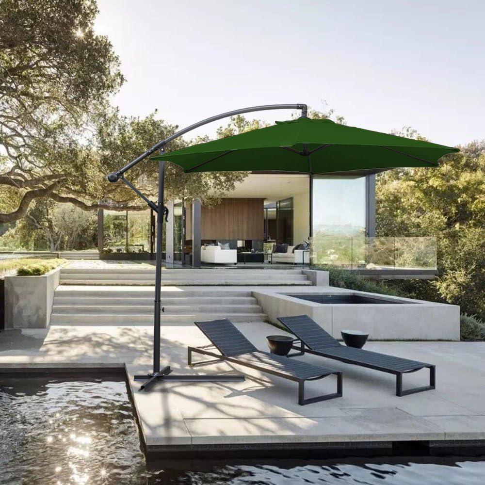 NYC Hengda® Jardín Sombrilla Parasol Sombrilla de Terraz protección UV 3.0m Verde con Manivela Para terraza jardín Playa Inclinable Camping: Amazon.es: Jardín