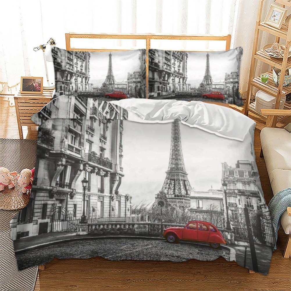 Feelyou Novelty Duvet Cover Set Queen Size Decorative Microfiber Polyester Bedding Set Paris Eiffel Tower Print Grey Famous City Scene