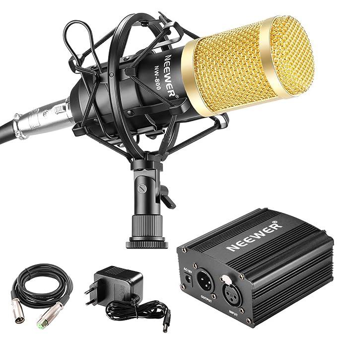 Neewer - NW-800 90088373 - Micrófono 48V Fuente Phantom con Adaptador de Corriente, Montaje de Choque, Cubierta de Espuma Anti-Viento, Cable de Audio ...