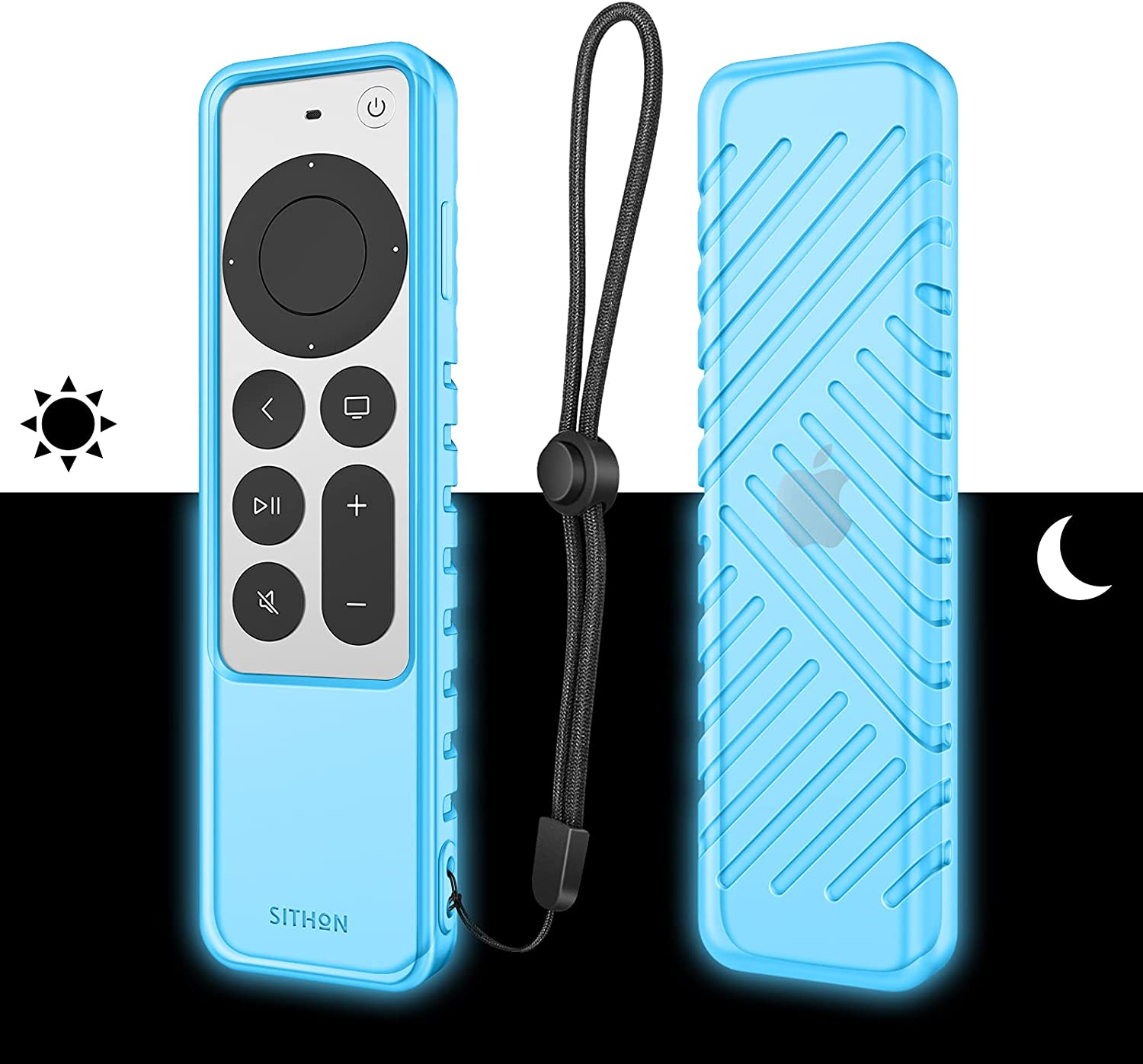 SITHON Silicone Case for Apple TV 4K 2021 Remote Controller, Lightweight Shockproof Anti Slip Protective Cover with Lanyard Strap for Apple TV 4K Siri/HD Remote (2nd Gen), Nightglow SkyBlue