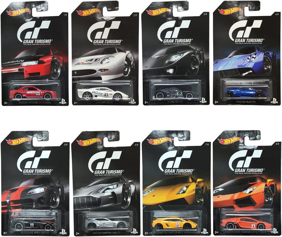 Hot Wheels 2016 Gran Turismo Bundle Set of 8 Die-Cast Vehicles, 1:64 Scale