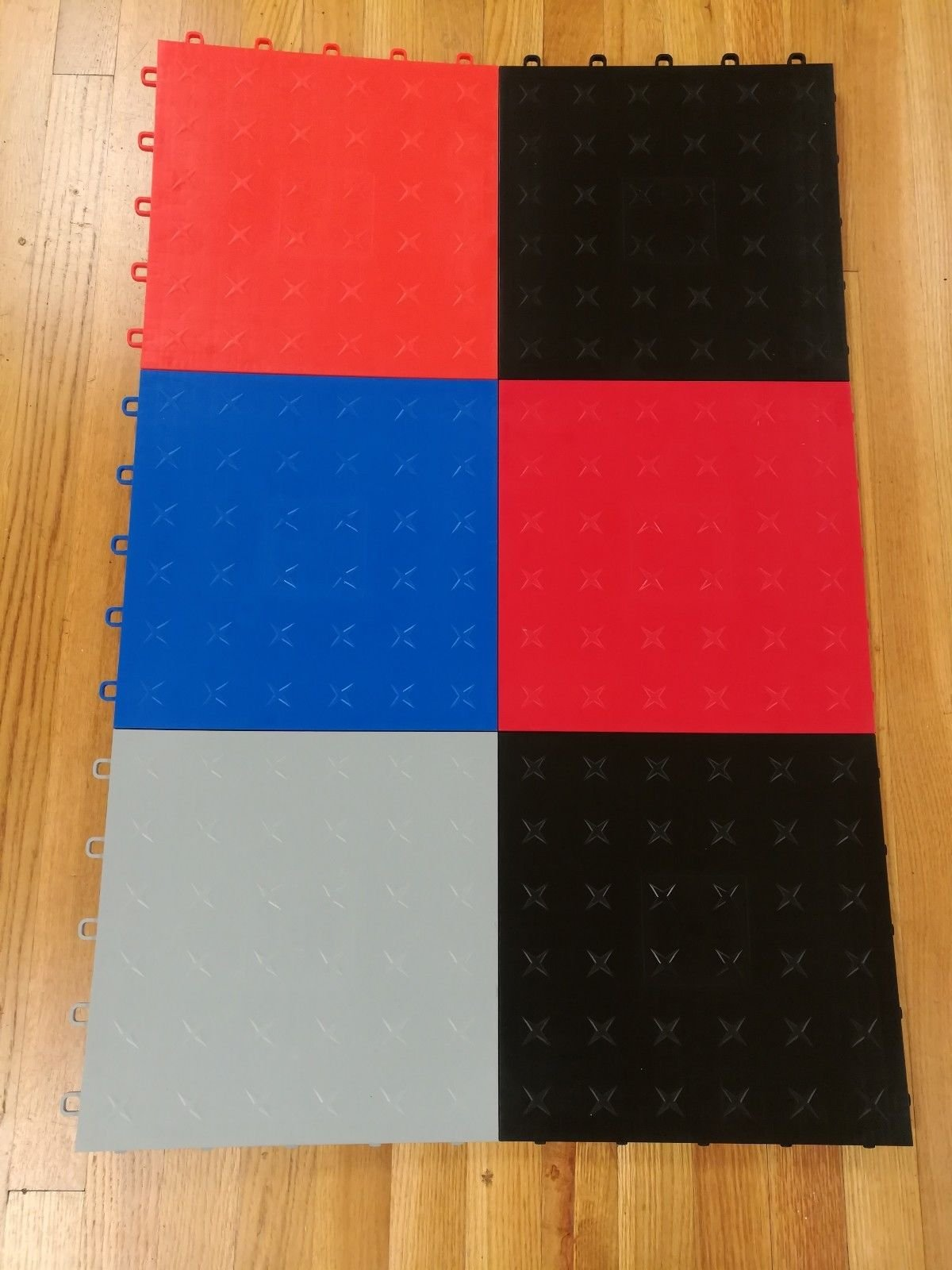 JSP Plastic Black Garage Tile Garage Floor Tiles Interlocking Basement Mat Black Diamond plate Made in USA (100) by JSP Manufacturing (Image #3)